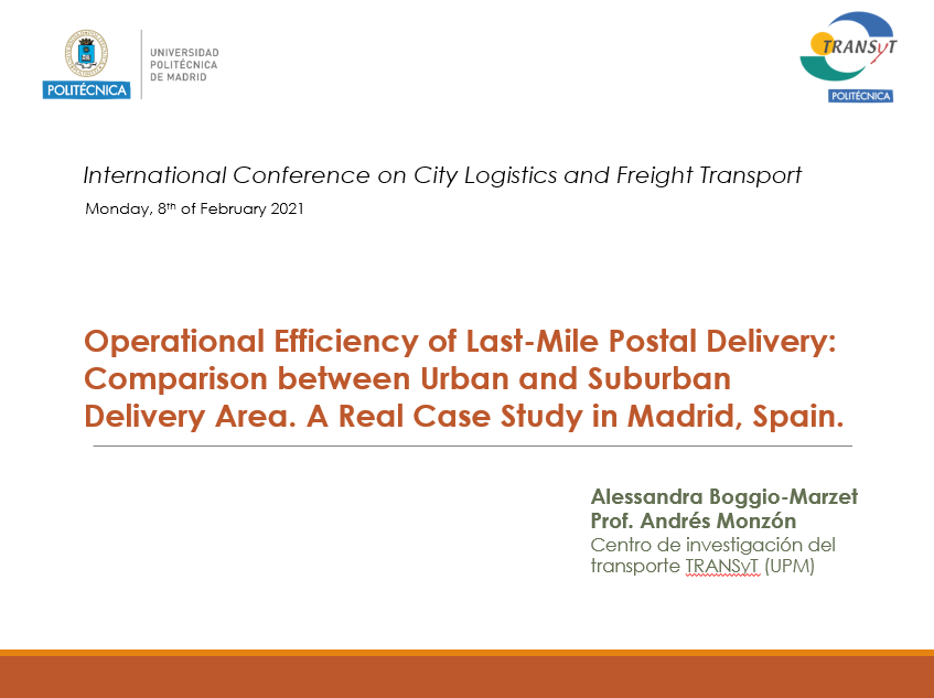 "Alessandra Boggio-Marzet presenta los resultados del experimento mercancías de Madrid en  ""International Conference of City Logistics and Freight Transport""."